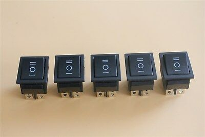 5x Latching 3 Position On-Off-On Large Black Rectangle Rocker Switch 6-Pin 12V