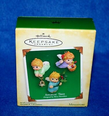 "Hallmark 2005 ""ANGELIC TRIO"" SET OF 3 ANGEL MINIATURE KEEPSAKE Ornament (NIB)"