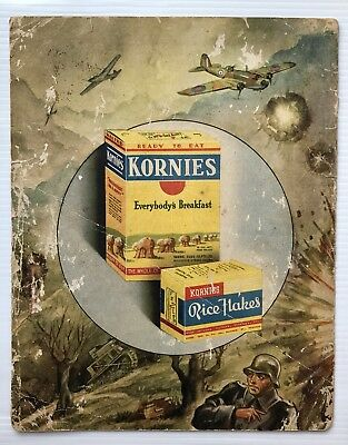 Kornies Advertisement / Show Card / Album Cover Cereal Rice Flakes WW2 1940's