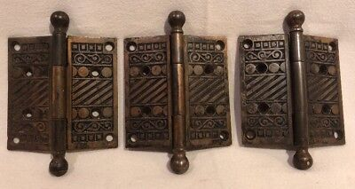 Antique 1890's VICTORIAN Ornate Fancy Ball Ends Cast Iron Door Hinges Lot Of 3