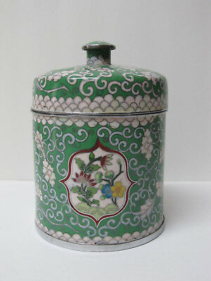 Fine Old Large Chinese Silver Plated Cloisonne Tea Caddy or Jar with mark 6.25""