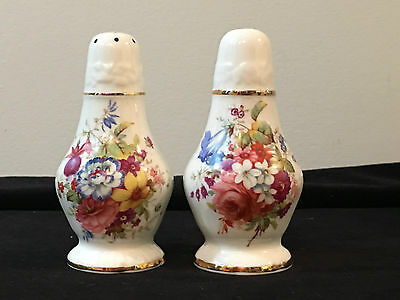 Hammersley Bone China Made In England Floral Salt And Pepper