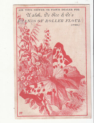 Walsh Deroo & Co Roller Flour Butterfly Holland Michigan Vict Card c1880s