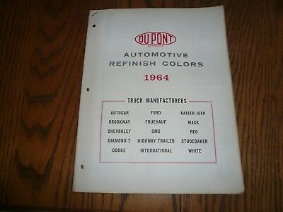 1964 Chevrolet Ford Dodge White GMC DuPont Duco-Dulux Truck Mfg. Paint Chips