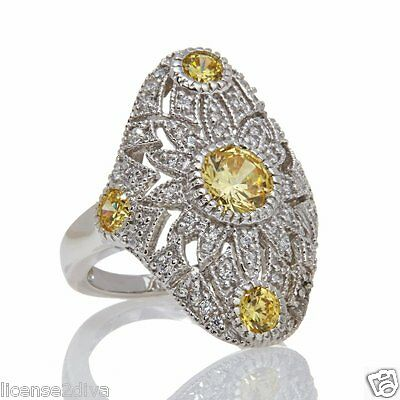Jaune Chaton Argent Sterling & Chic Canari Absolu Filigrane Anneau Bague Taille