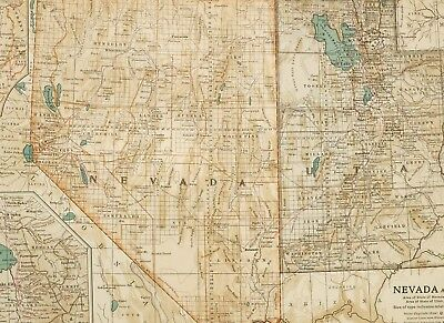 1903 Antique Map Nevada Utah Salt Lake City Washoe Cedar City Monroe