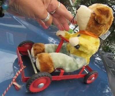 "Vintage 9"" Red Pull Cart Toy Dog Bear Antique On Wheels Silk Mohair Plush German"