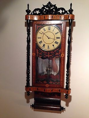 Antique 1800s New Haven American extravagant Marquetry Wall Regulator Victorian