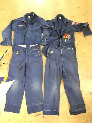 Vtg Official BSA Cub Scout Shirt Blue Pants Youth S Lot Of 2 Sets And Hankies
