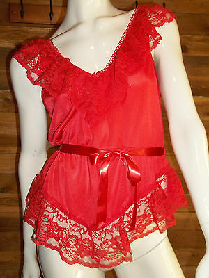 VINTAGE ALANA GALE RED SIZE MEDIUM TEDDY with LACE RUFFLES