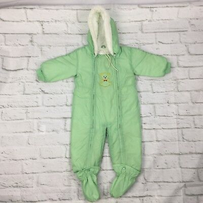 vintage JC Penny infant baby snow suit Green hooded zip up 80's