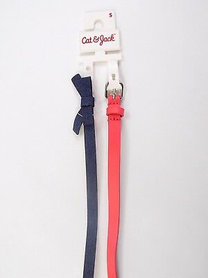 Cat & Jack Girls Multicolored Belts Set of 2 Size Small Blue Bow Pink