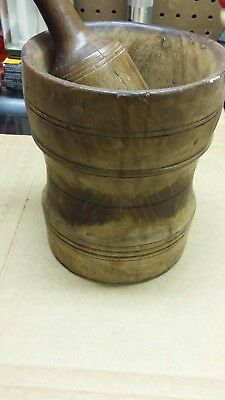 VIntage Rustic Decorative Wooden Mortar and Pestel Distressed