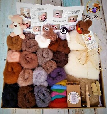 Needle felting kit, starter, 150g carded natural wool + core, 12 needles, mat