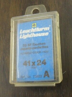 Leuchtturm Lighthouse 41 by 24 mm black stamp mounts in a pack of 35