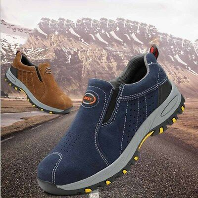 Men's Steel Toe Safety Work Boots Outdoor Suede Sneakers Climbing Hiking Shoes