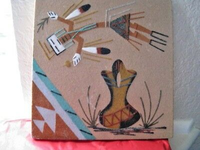 """Native American Indian Navajo 8"""" X 8"""" Sand Painting Signed On Back"""