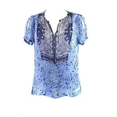 Lucky Brand Printed Sheer-Back Top SMALL Navy Multi MSRP $79.50