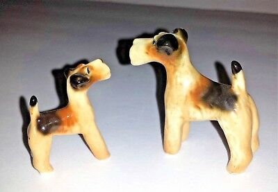Lot of 2 Wirehaired Fox Terrier Airedale Dog Puppy Vintage Porcelain Figurines