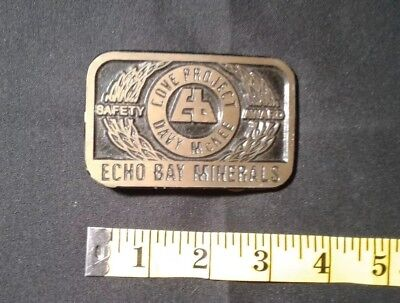 COVE PROJECT DAVY McKEE - ECHO BAY MINERALS SOLID BRASS BELT BUCKLE