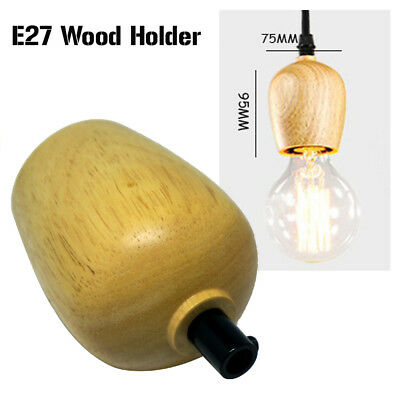 2 x Vintage Industrial Lamp Bulb Holder Light wood Antique Edison E27 Fitting UK