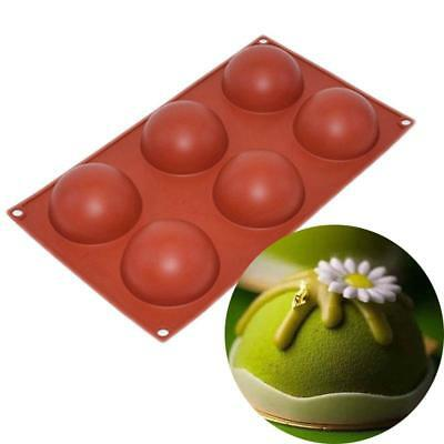 Silicone 6 Half Ball Round Cookie Chocolate Cake Candy Soap Mold Mould BS