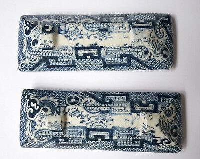 Antique Pottery Pearlware Blue Transfer Pair of  Knife Rests c1820