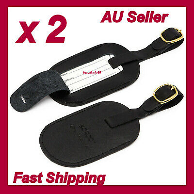 2 x New Korjo Black Top Quality Genuine Leather Luggage Tags I.D Travel Bags Tag