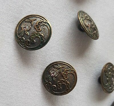 Beautiful Antique Brass Buttons Late 1800s Rose & Scrolled Leaves French