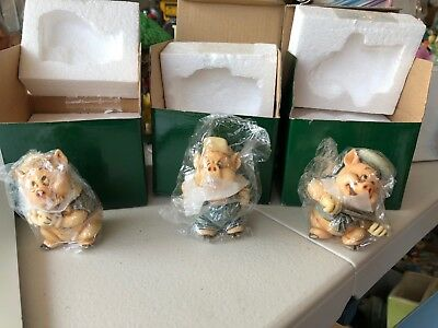 Harmony Kingdom Disney Three Little Pigs Set of 3 Fiddler, Fifer & Practical pig