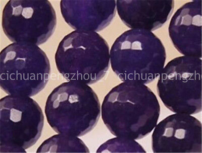 """Natural 8mm Russican Purple Amethyst Faceted Round Gems Loose Beads 15"""" Strand"""