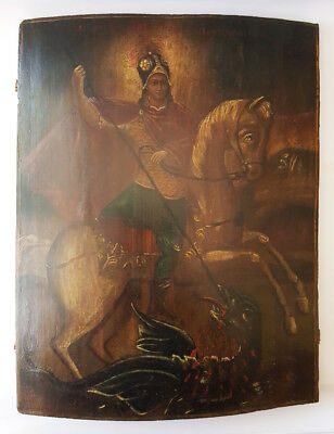 Antique 19th C Russian Wooden Icon (44.5 cm) of St.George the Victorious