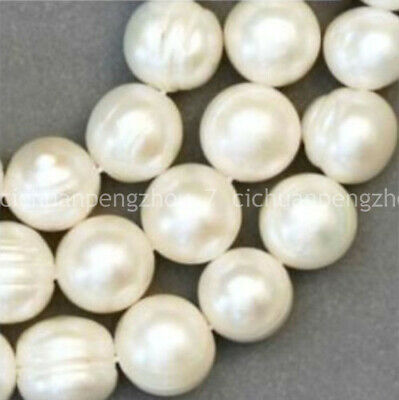 Natural 8-9mm Real Akoya White Freshwater Round Pearl Loose Beads Strand 15""