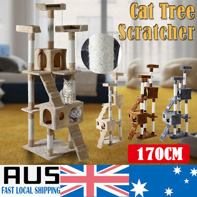 Cat Scratching Tree Post Pole Condo Toy House Furniture Multi level Pet Scratch