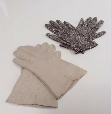 Two Pairs Of  Gloves, snakeskin effect and vintage  Kid Leather