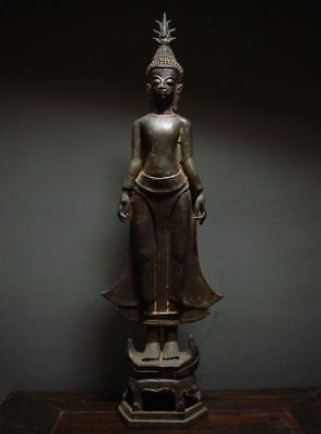 ANTIQUE BRONZE SACRED STANDING LAO BUDDHA -  LAOTIAN ART. 19/20th C.