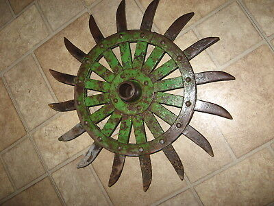 JD Rotary Hoe Wheel  Yard Garden Wall Art Decor SteamPunk 17""