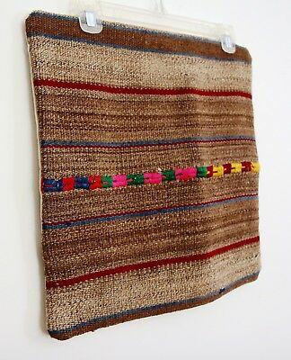 Heavy Woven Rug Wool Pillow Cover Throw Ethnic Tribal Gray Blue Deep Red Square