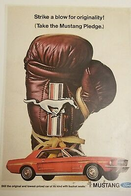 Red Ford Mustang Car 1960 Mustang Horse Boxing Glove Print Ad Vintage Pledge