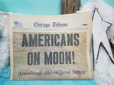 *Americans On Moon' Apollo Moon Landing Chicago Tribune July 21, 1969 Newspaper