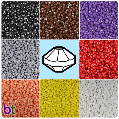 BeadTin Opaque 6mm Faceted Rondelle Craft Beads (1200pcs) - Color choice