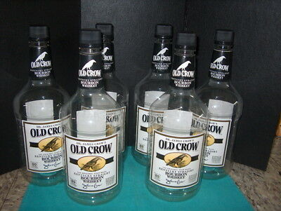Old Crow Whiskey Bottle's (6) Empty 1.75 Plastic Bottles Ready For Crafts