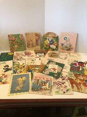 Lot of 25 Vintage Greeting Cards Used