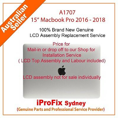 "Apple Macbook Pro 15"" Retina A1707 Complete LCD Screen Assembly Grey Silver"