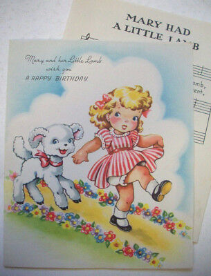 Mary Had a Little Lamb + sheet music vintage Birthday greeting card #3B