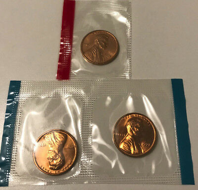 1971 P D S Lincoln Cent BU in US Mint Cello - 3 Coin Uncirculated Penny Set