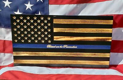 Thin blue line police wooden flag
