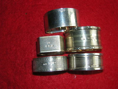 A Lovely Collection 5 Antique Sterling Silver Napkin Rings 97.7 grams