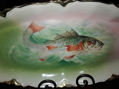 Fantastic Large Antique Victorian Fish Fishing Platter Plate Dish Limoges Style
