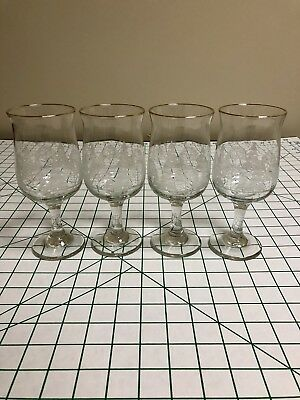 4 Libby Christmas Winter White Frosted Pine Tree Stemmed Glasses from Arby's
